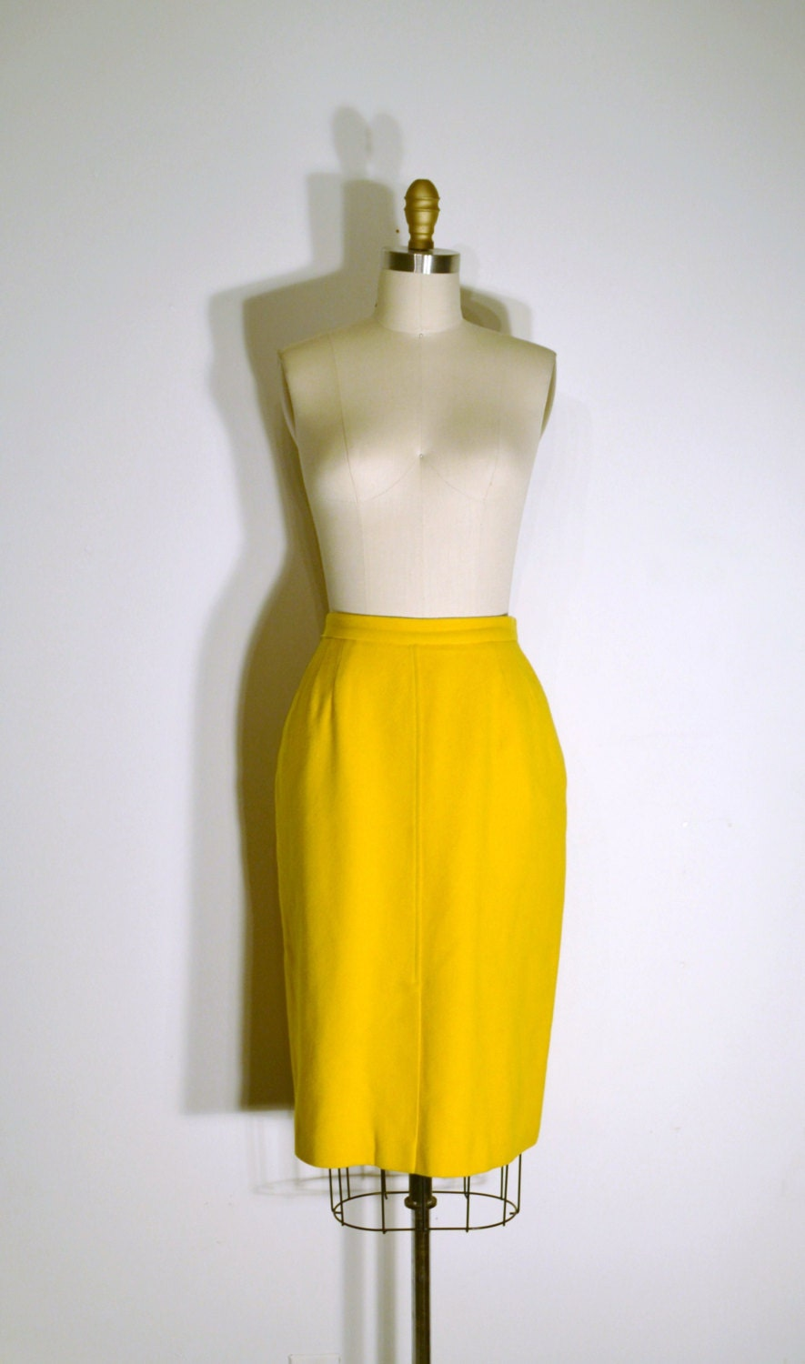 vintage 1960s wool skirt 60s pencil skirt by