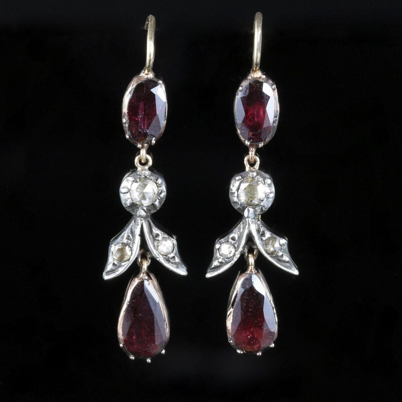 Antique Georgian Garnet Diamond Earrings Long Flat Top Garnet 18ct Gold