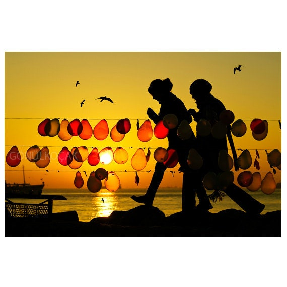 silhouette photography, Balloon,  Sunset, photography, color, Landscape, istanbul, istanbul photography, seagull , 10''x 15 '' - gonulk