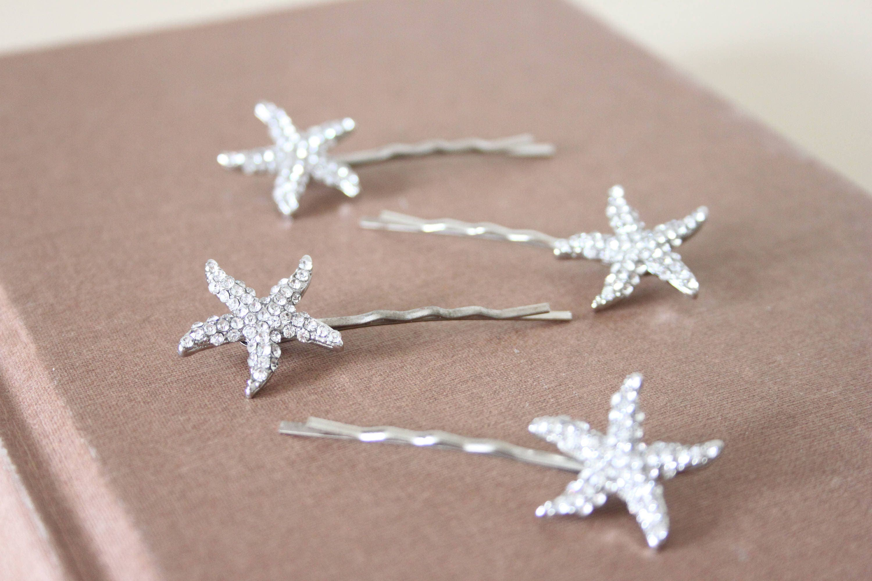 Set of four sparkly silver starfish hair clips starfish clips silver stars sparkly hair clips
