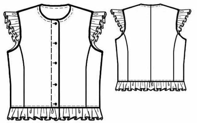 Выкройка жилетки для девочки с маленькими рукавами.  Скачать.