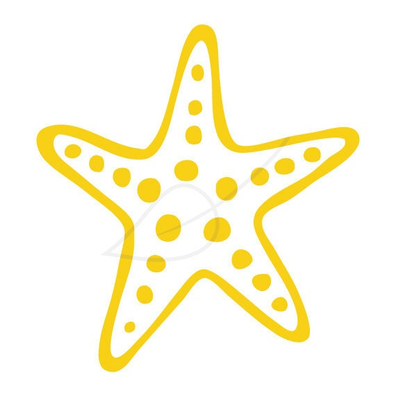 Starfish Digital Stamp Clip Art In Yellow By