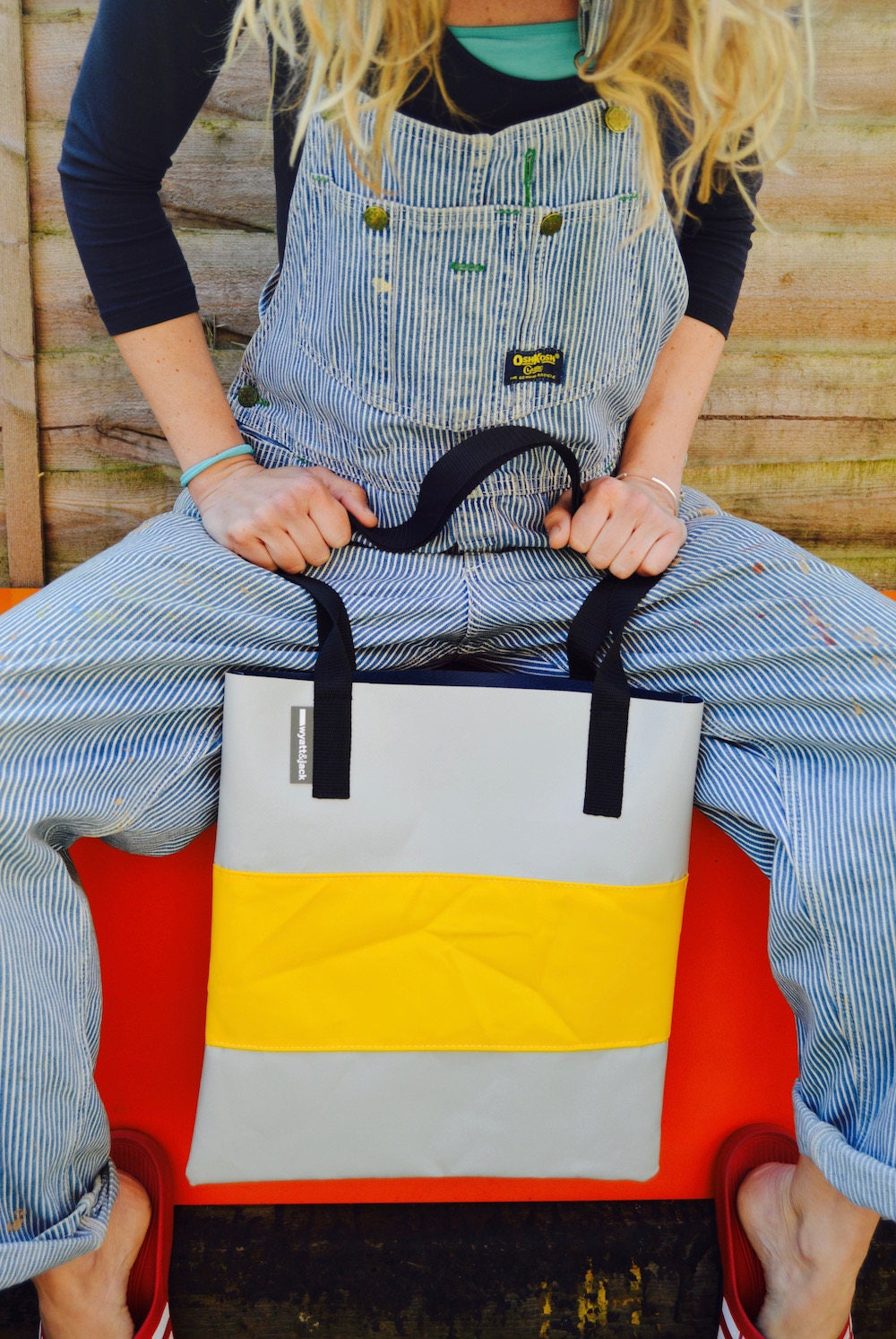 Wyatt and Jack Made in UK Upcycled Bouncy Castle Tri Colour Tote Shopper Bag in Concrete and Yellow