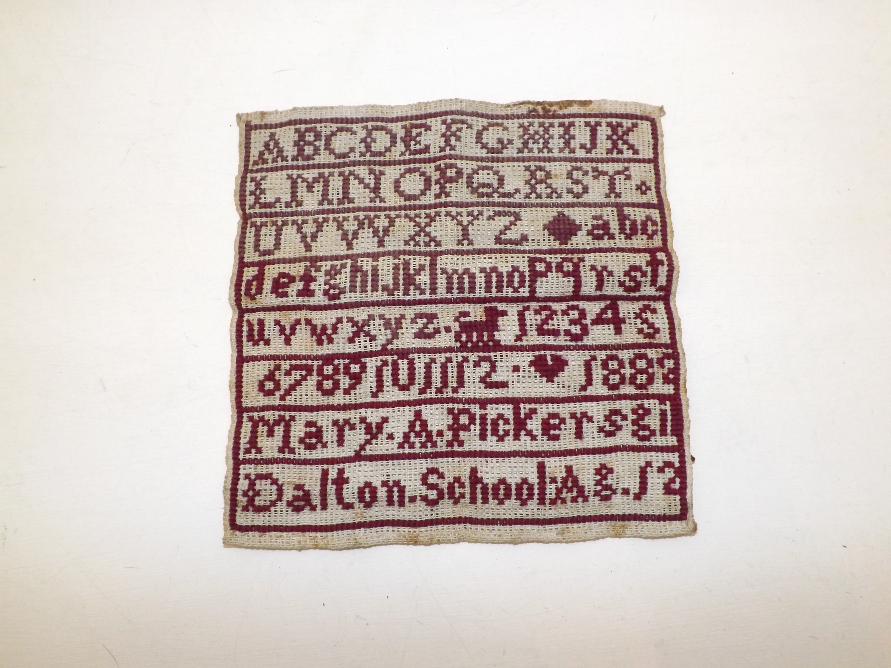 Antique Victorian small sampler woodwork cross stitch alphabet tapestry dated 1882