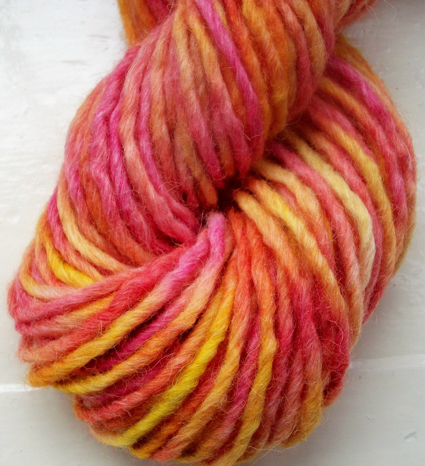 Hand painted merino alpaca yarn - 100g scarlet red yellow Sunrise