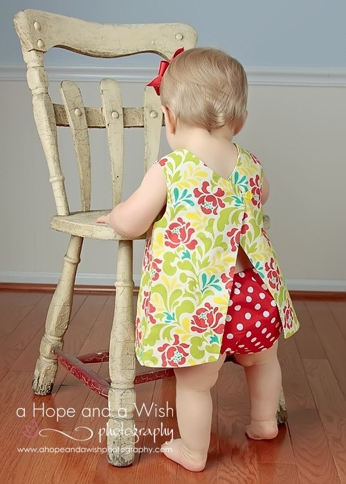 Pattern easy reversible baby dress sewing pattern with open back