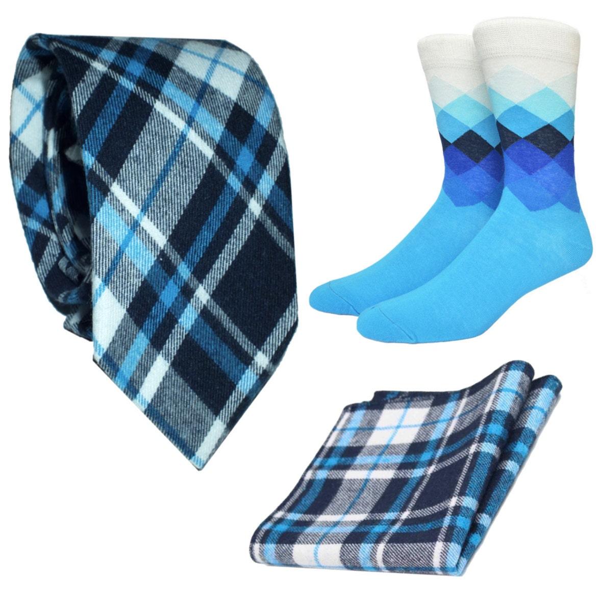 Matching Mens Socks NeckTie  Pocket Square blue navy black white check Plaid Bow Tie Set Gift Wedding Groom tartan argyle groomsman golf