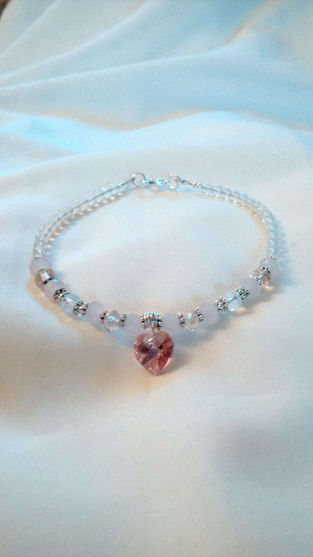 Anklet  Moonstone Anklet  Rose Quartz Moonstone Anklet  Love Stone Anklet  Healing Bracelet  Love Anklet  Heart Anklet
