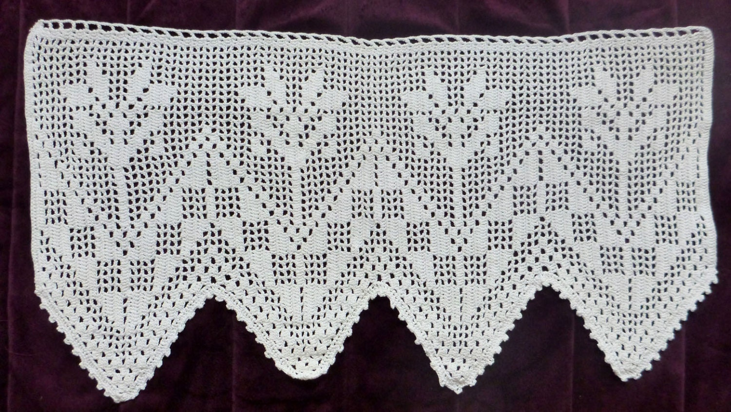 Crochet Flower Window Valance Pattern : Items similar to Vintage Crocheted Window Valance floral ...
