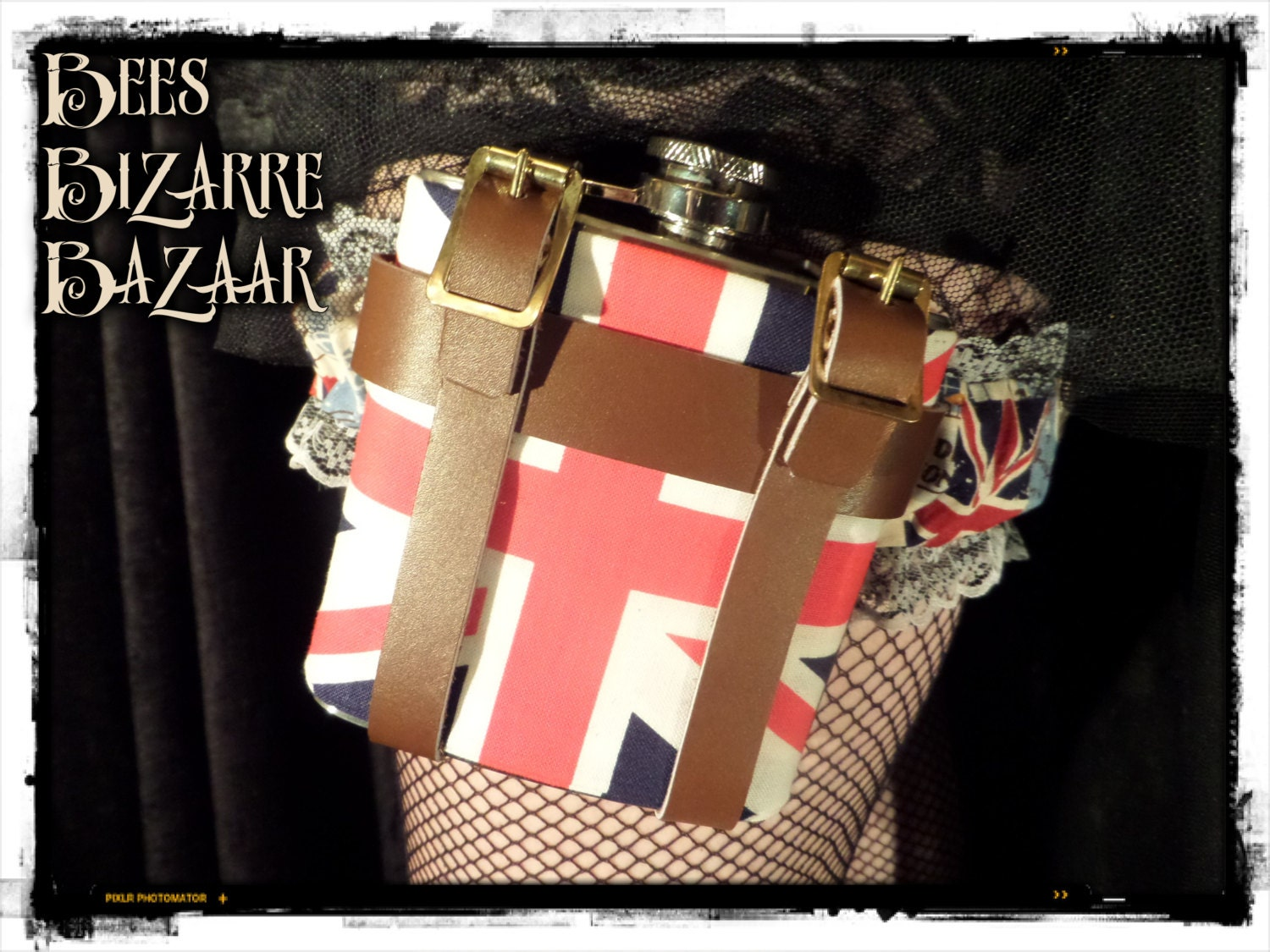 Ladies Leg Garter and Hip Flask 6oz  Union Jack  Wedding Burlesque Steampunk Cosplay