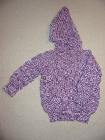 Zip Up Back Hooded Baby Sweater Pattern 115