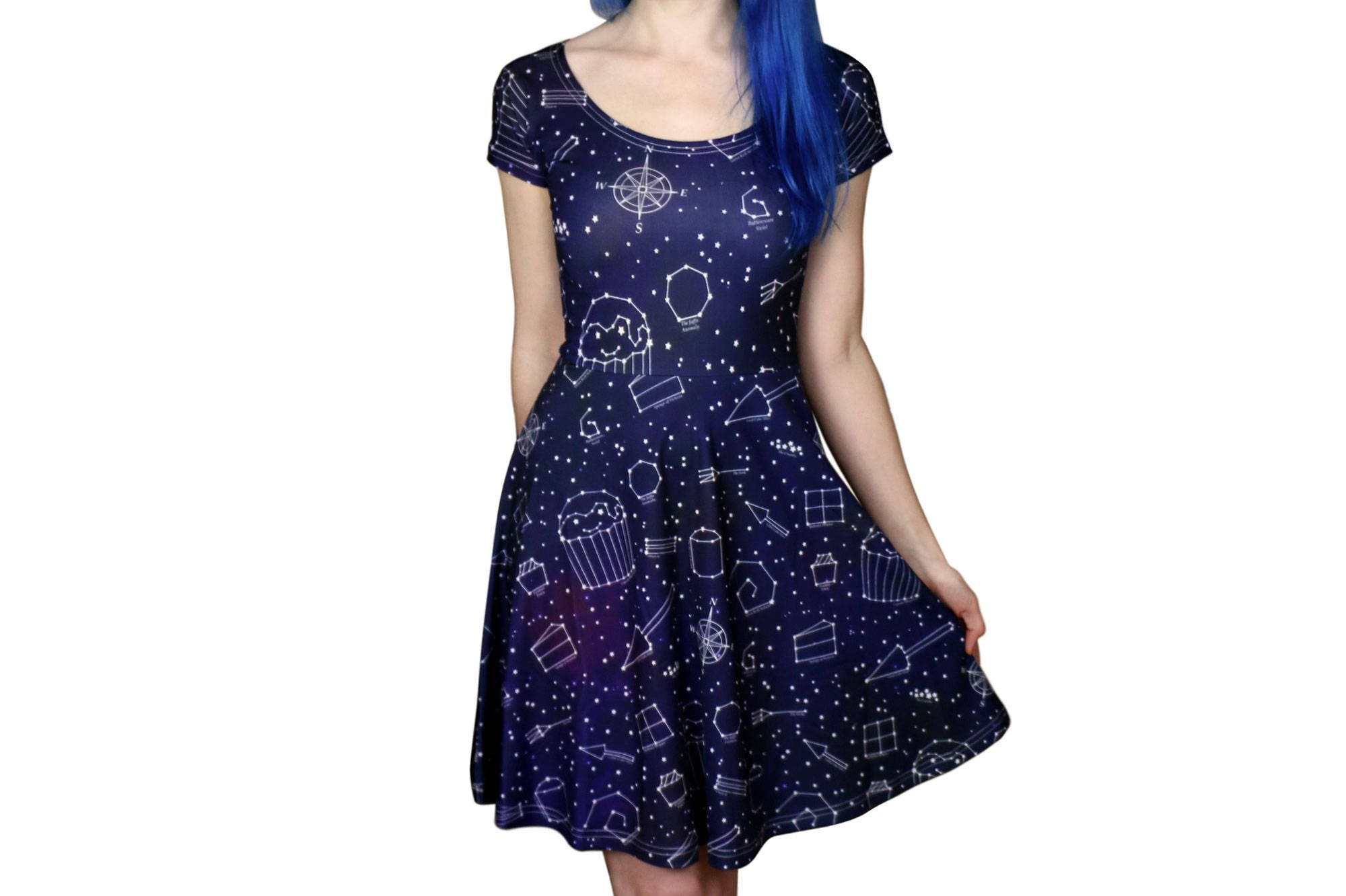 Starry Night Dress  Size 6 to 1820  Galaxy  Space  Stars Skater Dress  Party Dress  Dark blue  Dresses  Alternative Clothing