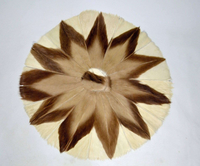 Vintage Round Cow Hide Calf Skin Fur Rug By Honeybeepollen