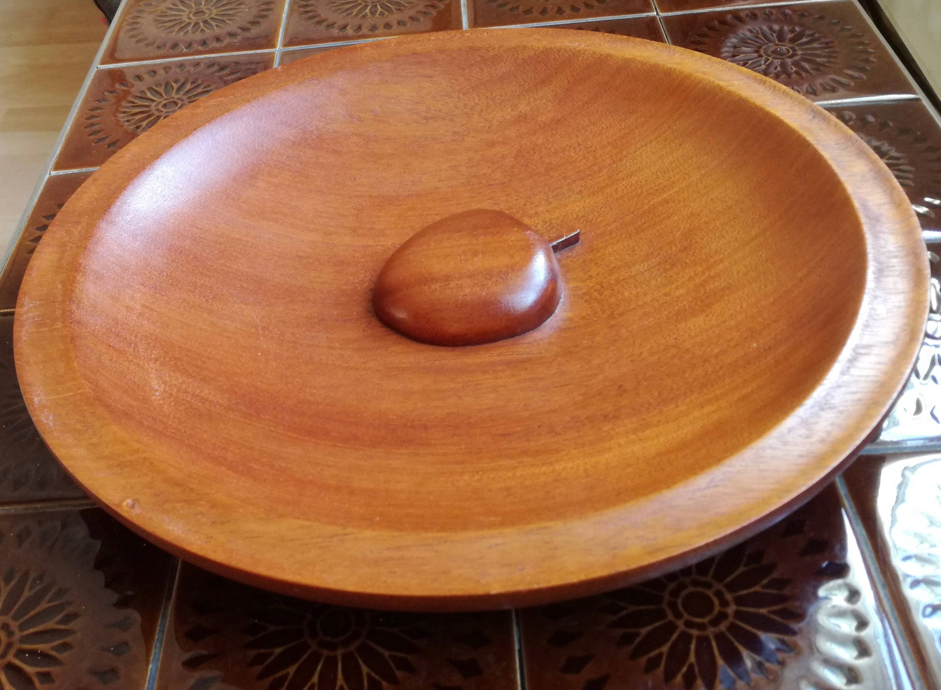 Retro danish Large Stunning Solid  carved wood fruit Bowl 32.5 cm wide (very rare apple centre)