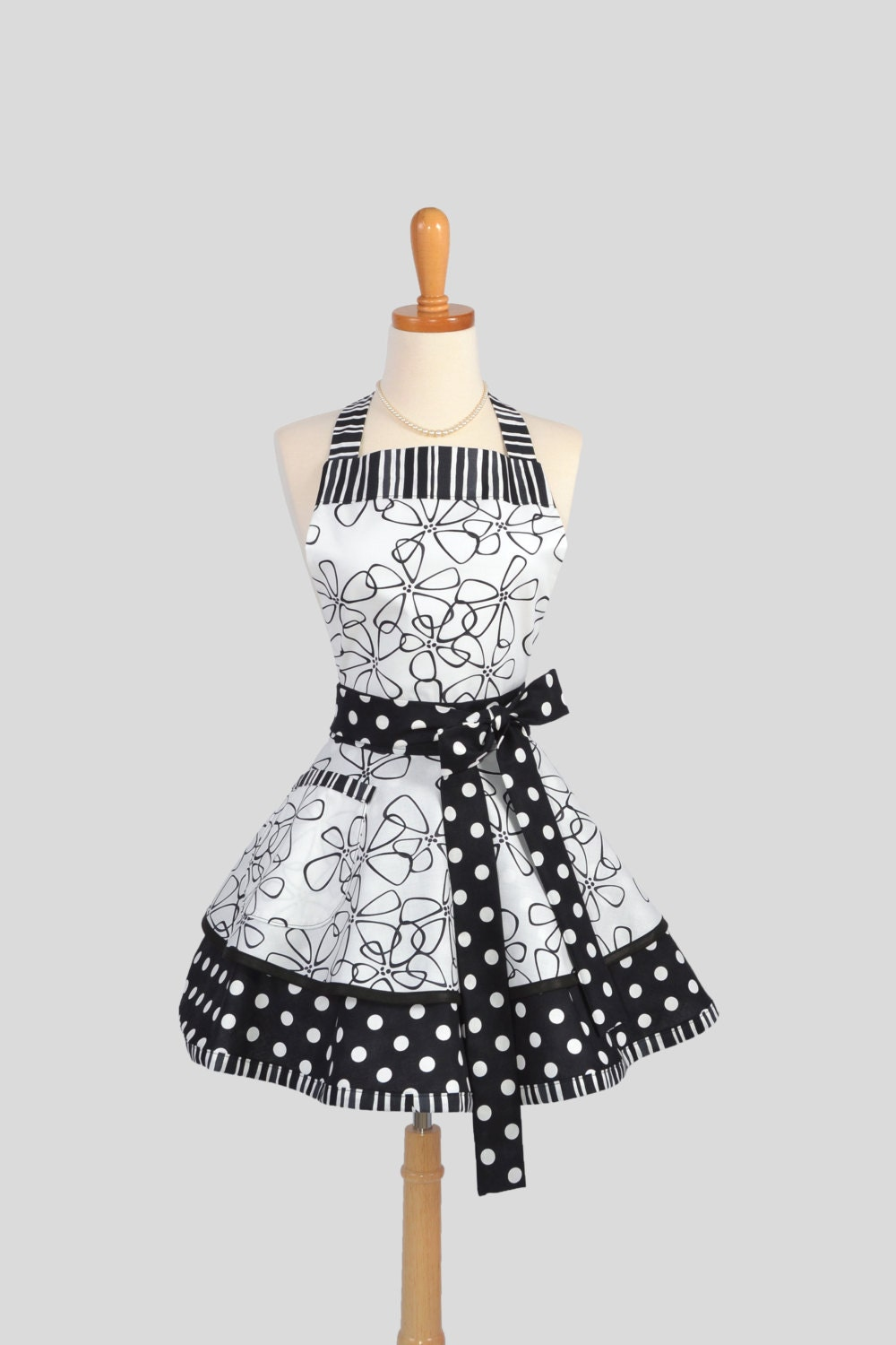 Ruffled Retro Apron .  Sexy Womens Apron in Black and White Dots and Stripes Handmade Full Kitchen Apron