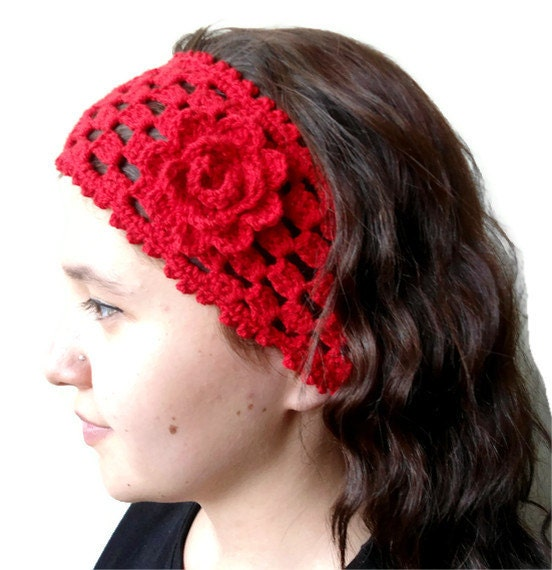 red crochet headband , hair accessories ,gift ,unique Turkish style ...