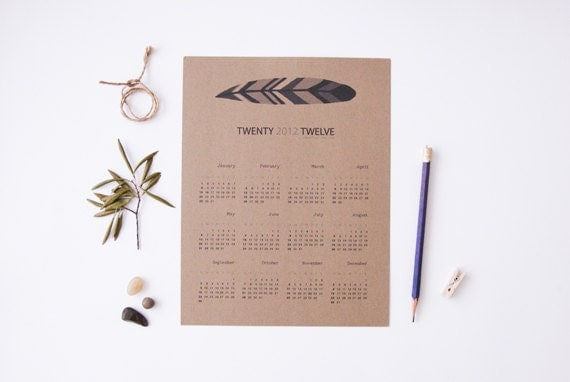 2012 Calendar - Feather illustration Kraft Paper. Wall calendar. 1 Page. Home office. Christmas gift. 8.5 x 11