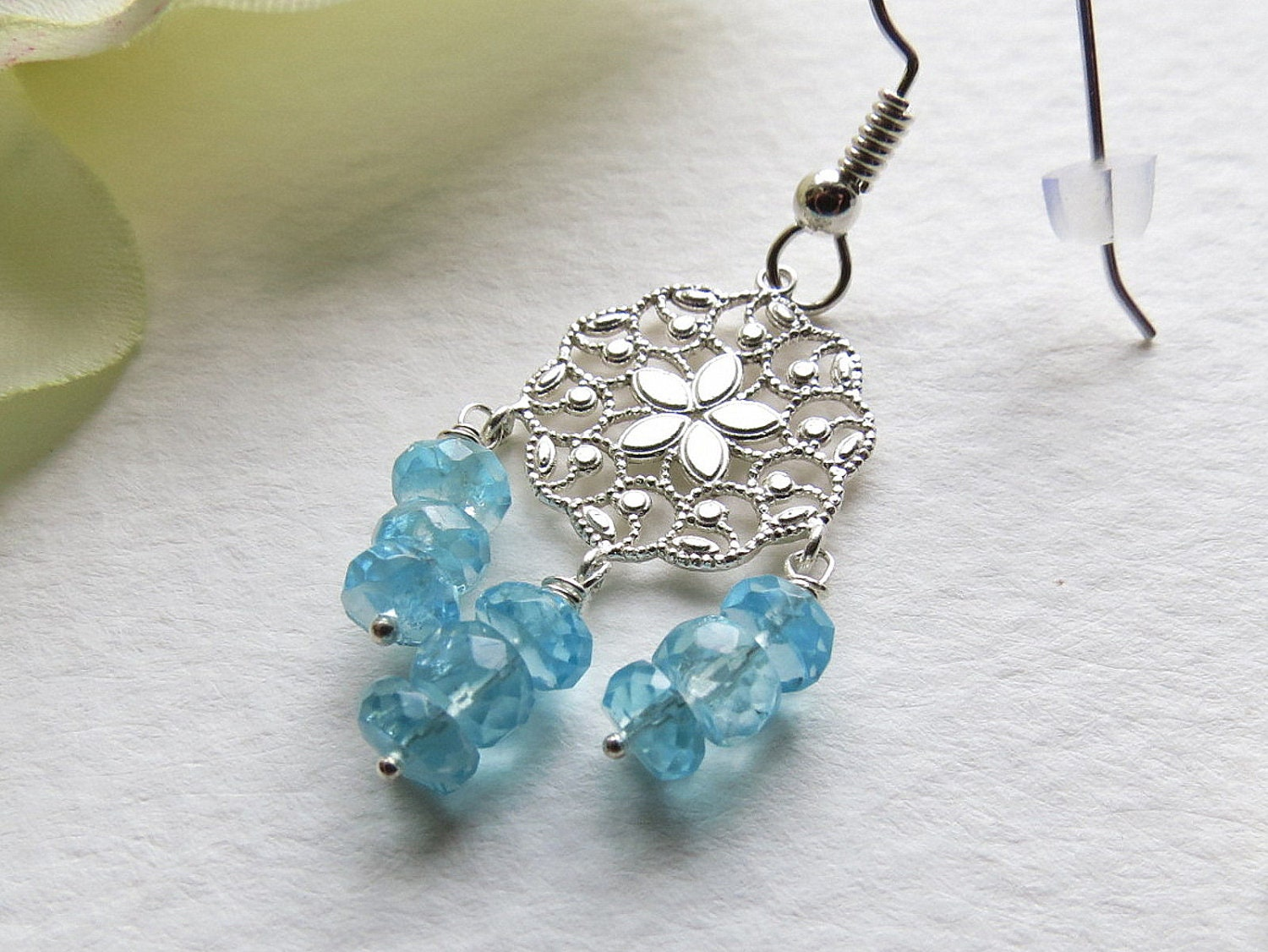 Jewelry, Handmade Earrings Soft Blue Apatite and Sterling Silver. SRAJD - Smokeylady54