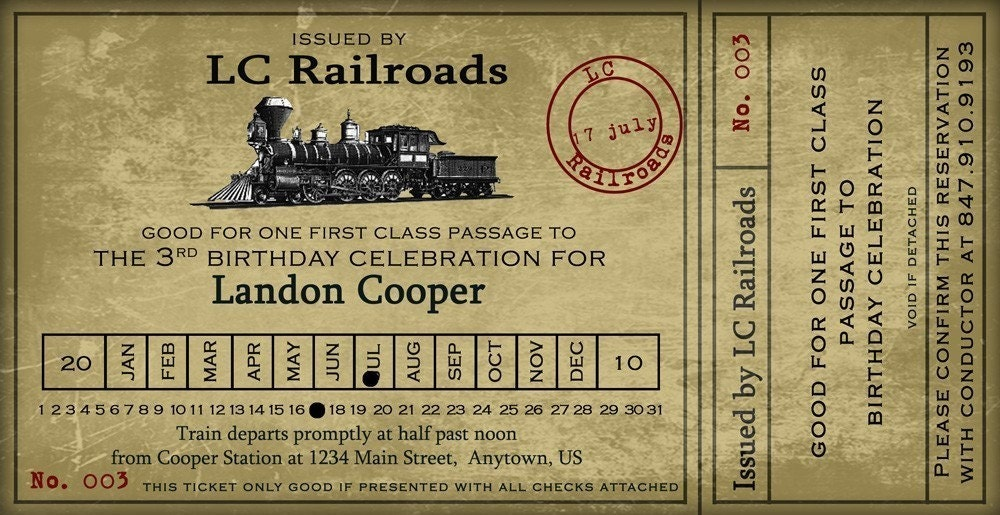 Vintage Train Ticket Party Invitation 4x8 by nounces on Etsy
