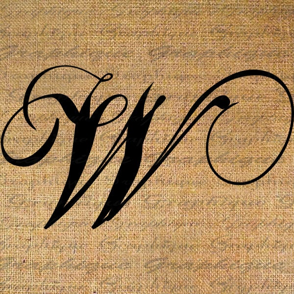 Calligraphy Letters W Monogram initial letter w