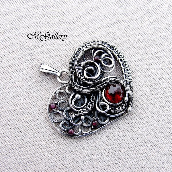 Silver pendant - heart -  wire wrapped - garnet -Free pendant with Swarovski crystal - GaleriaM