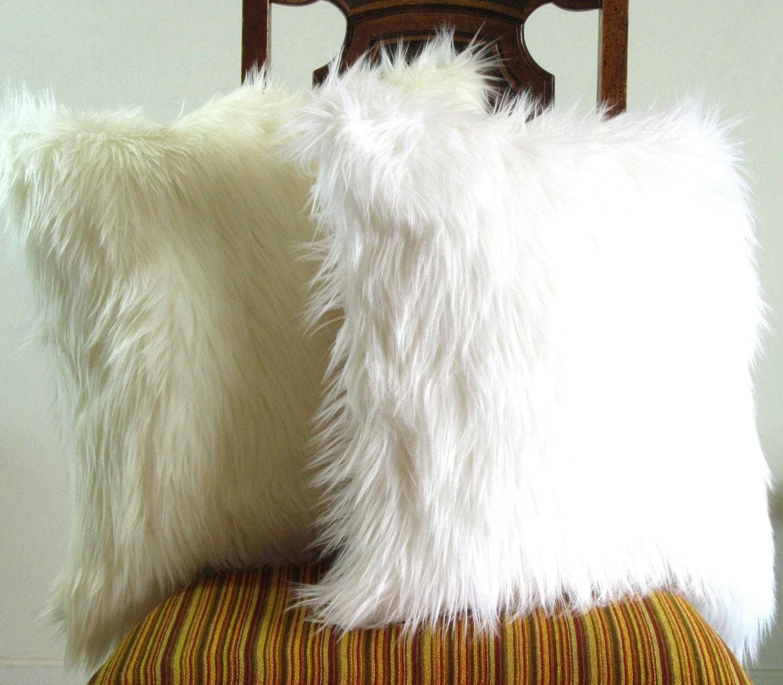 White fur pillow throw 14 X 14 fluffy white fur white linen pillow cover decorative ONE - VFIllustration