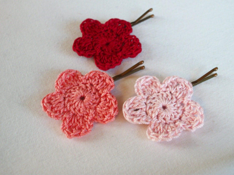 Crochet Hair Flower - Set of 3