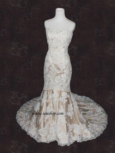 Ivory lace champagne lining mermaid wedding dress lace wedding dress
