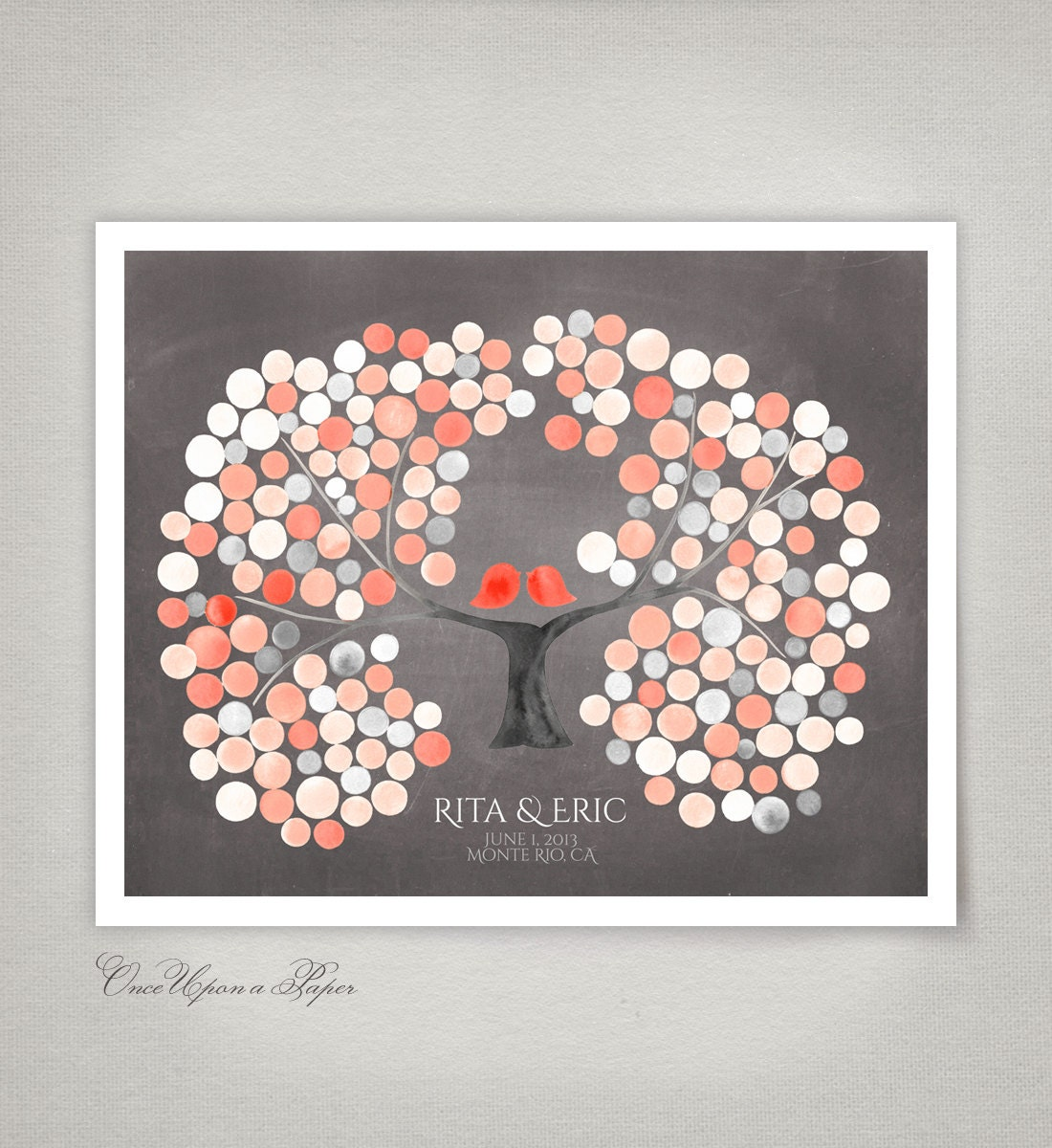 Wedding Guest Signing Tree: Wedding Guest Book MISSOURI REDHAVEN PEACH By OnceUponaPaper