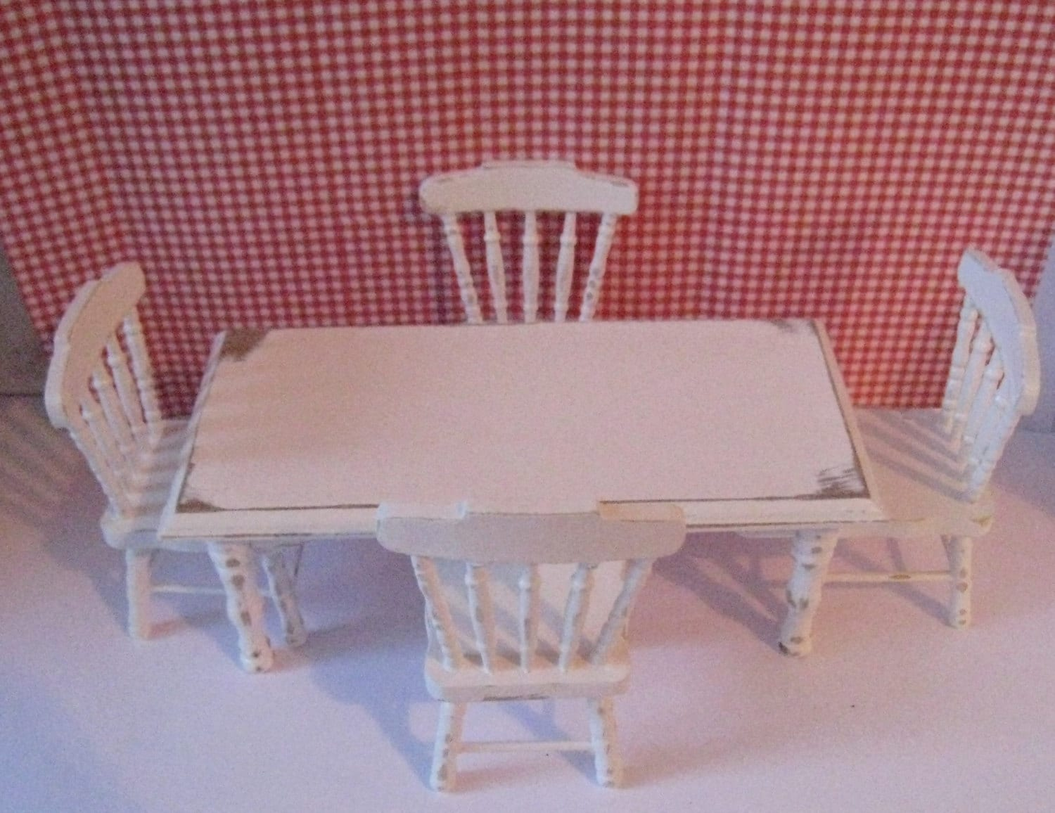 Dollhouse kitchen set tablechairs white set distressed kitchen dollhouse chairs Miniature kitchen twelfth scale