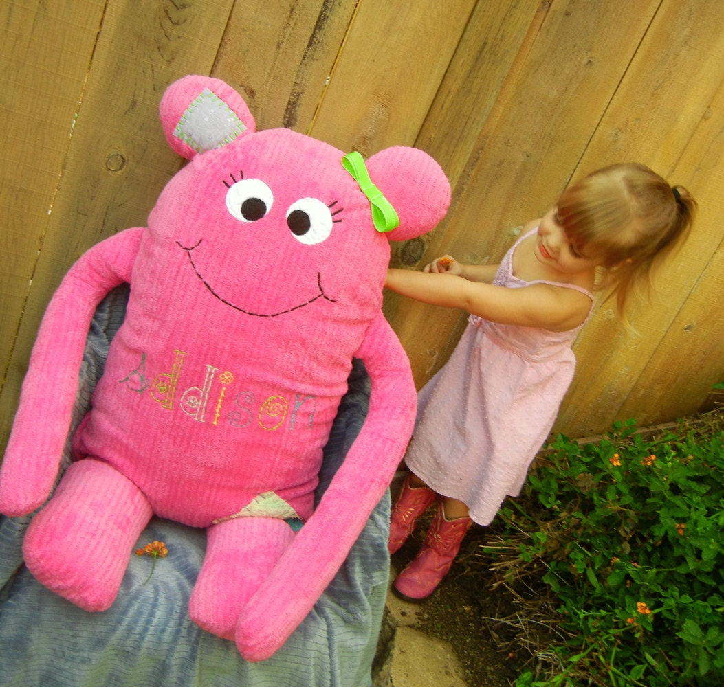 Body Pillow sized Giant Cookie Nummie Monster in Hot Pink Striped Minky Fabric with Personalized Name Embroidery - Derilyn