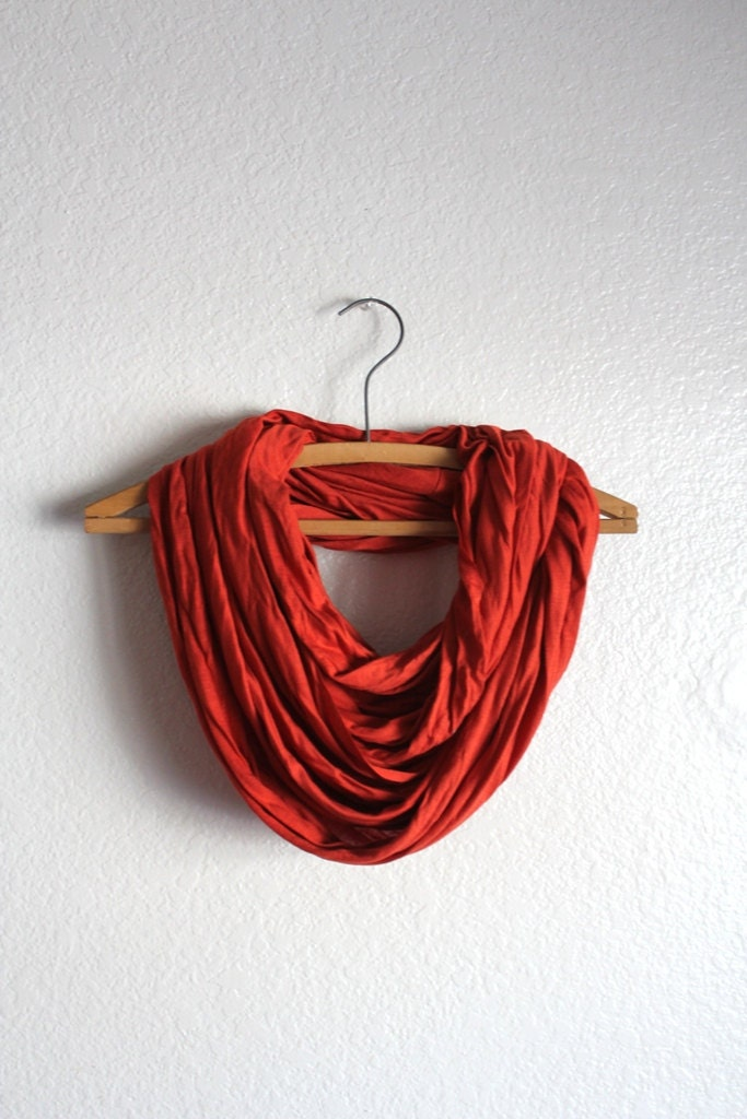 Burnt Orange Infinity Scarf -  Burnt Orange Scarves - Loop Scarf Infinity - Fall Accessories Free Shipping - BessiesCreations