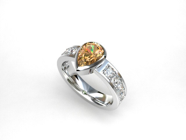 Imperial topaz engagement ring
