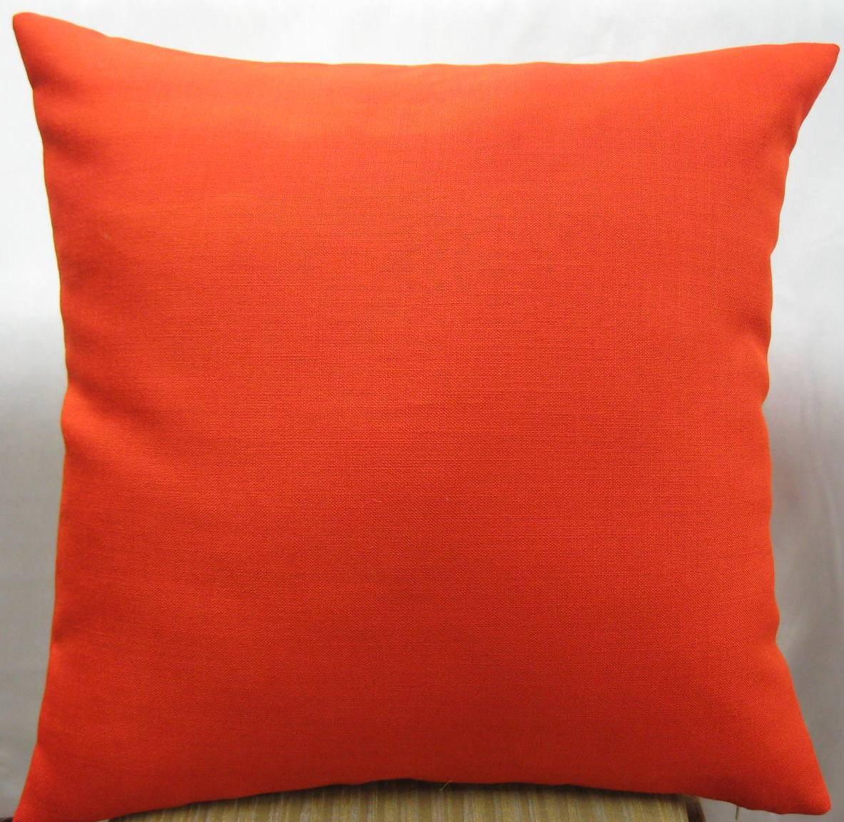 Dark Orange Decorative Pillows : Dark orange pillow cover in 24 x 24 linen fabric by pillowusa