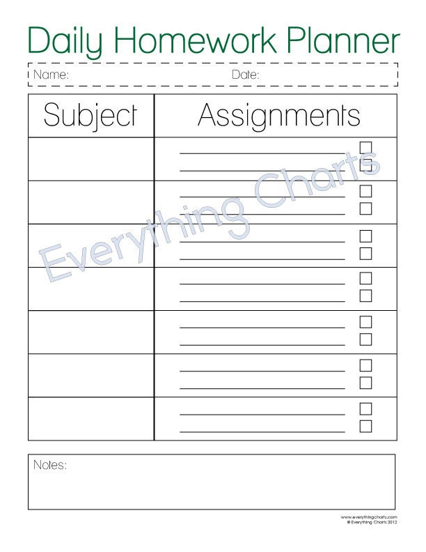 daily homework assignment sheet