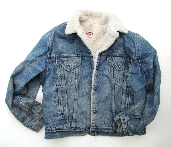 Levi's Sherpa Lined Denim Jacket Size 44L by worldvintagefashion