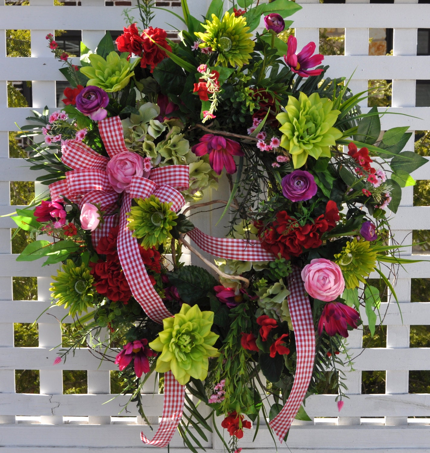 Spring wreath summer front door wreaths red pink lime gingham bright