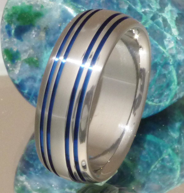 Thin Blue Line Titanium Wedding Band b15 by TitaniumRingsStudio