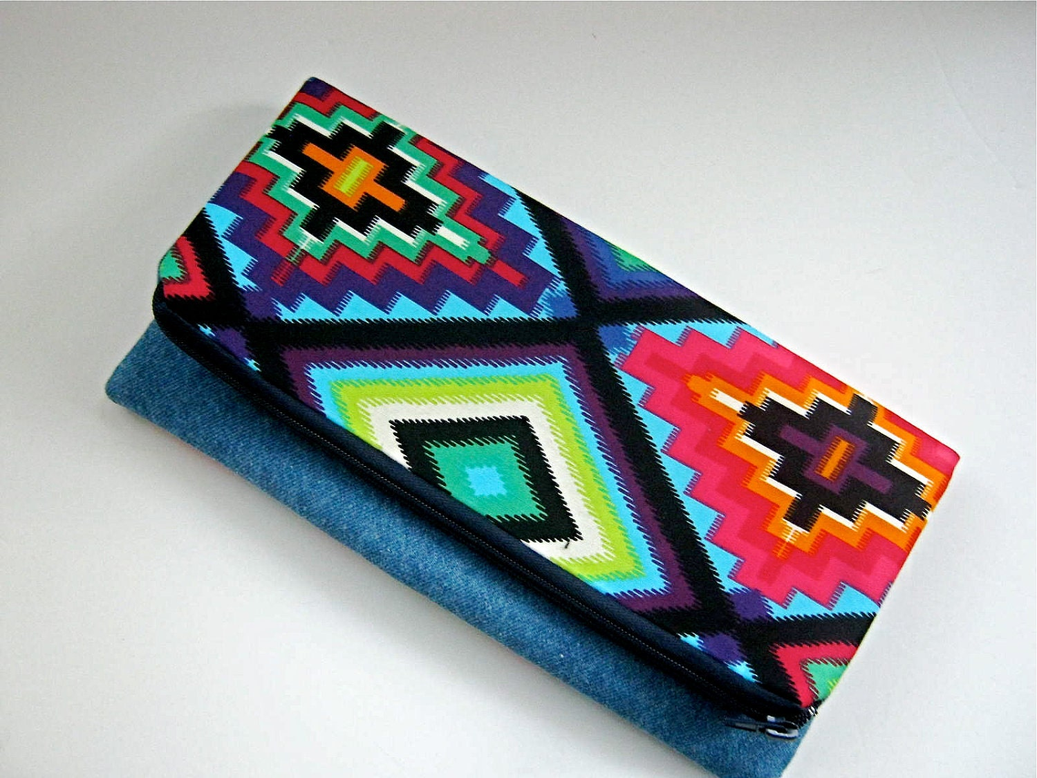 Fold Over Navajo Turquoise Clutch Bag - Spring Fashion