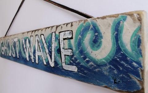 Ghost wave surf sign surf decor wood beach sign by mangoseed for Surf nursery ideas