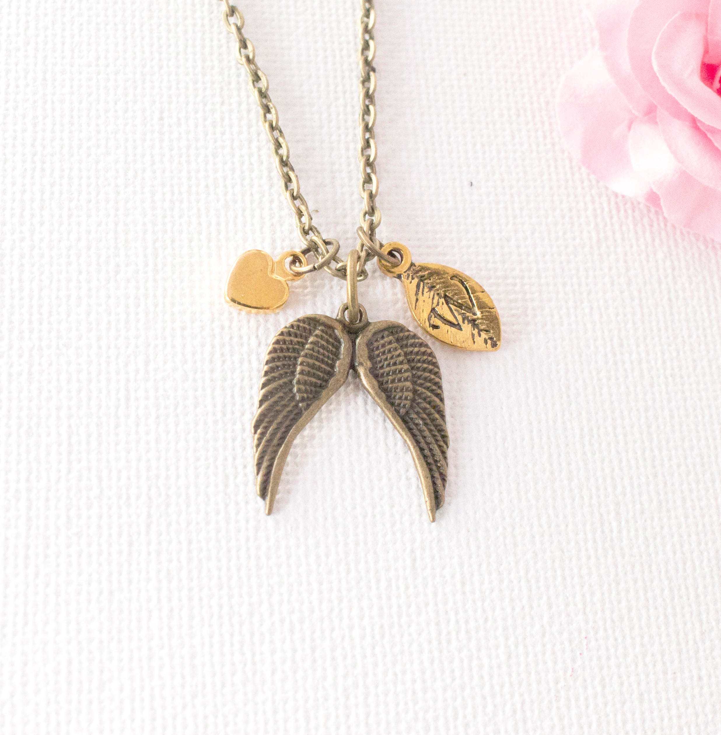 Bronze angel wing necklace loss necklace grievance necklace initial necklace angel wing jewellery angel wing
