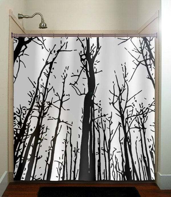 Woodland Forest Grove Winter Trees Shower By Tablishedworks