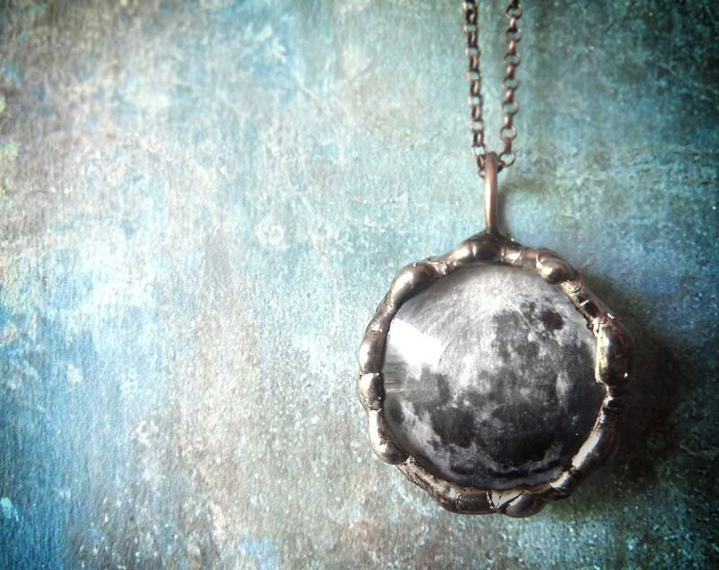 Full Moon Necklace - Small Glass Lens Pendant with Oxidized Sterling Silver Chain Double Sided