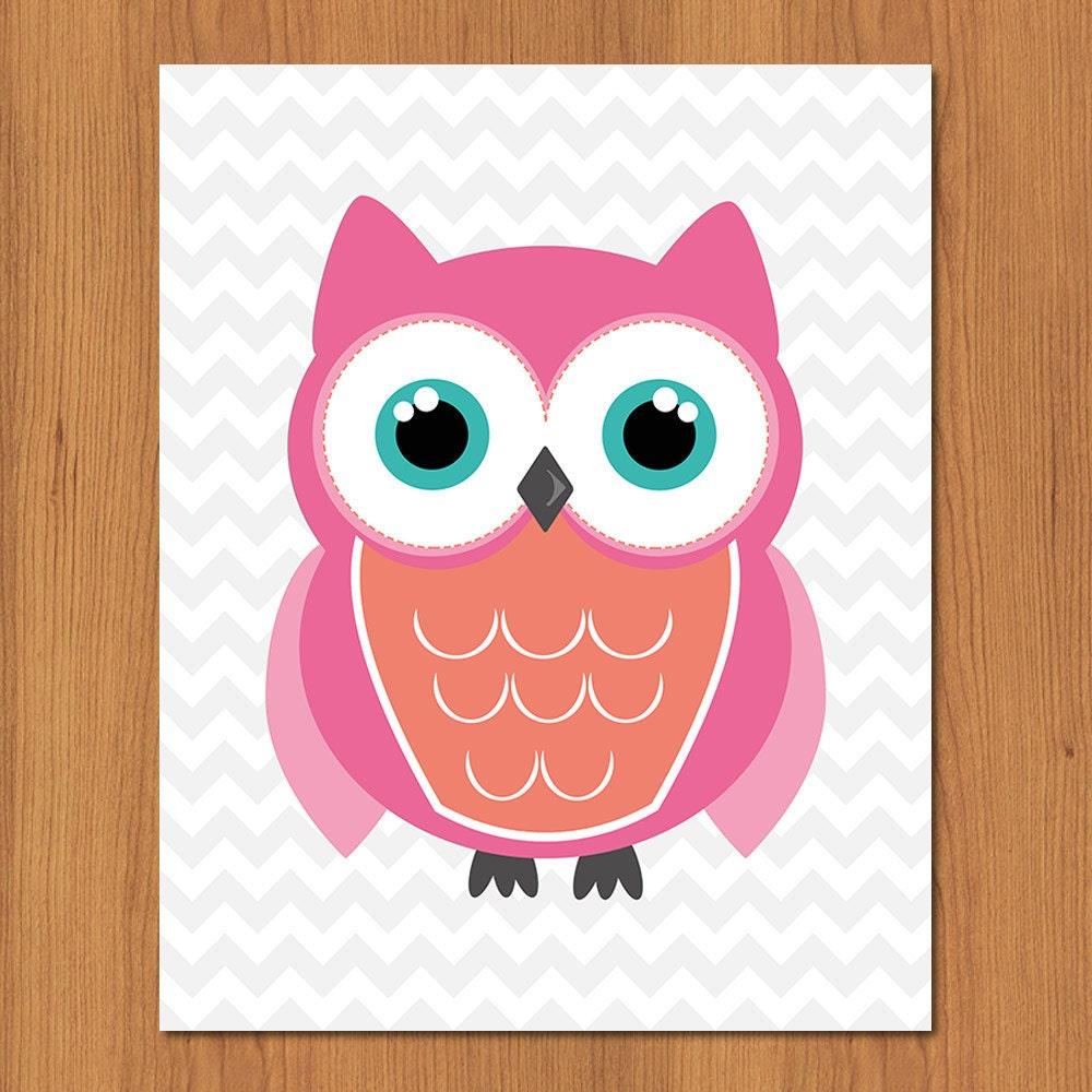 Coral Pink Teal Owl Nursery Print Girls By