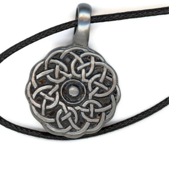 Round Celtic Knot Pendant Black Cord Necklace