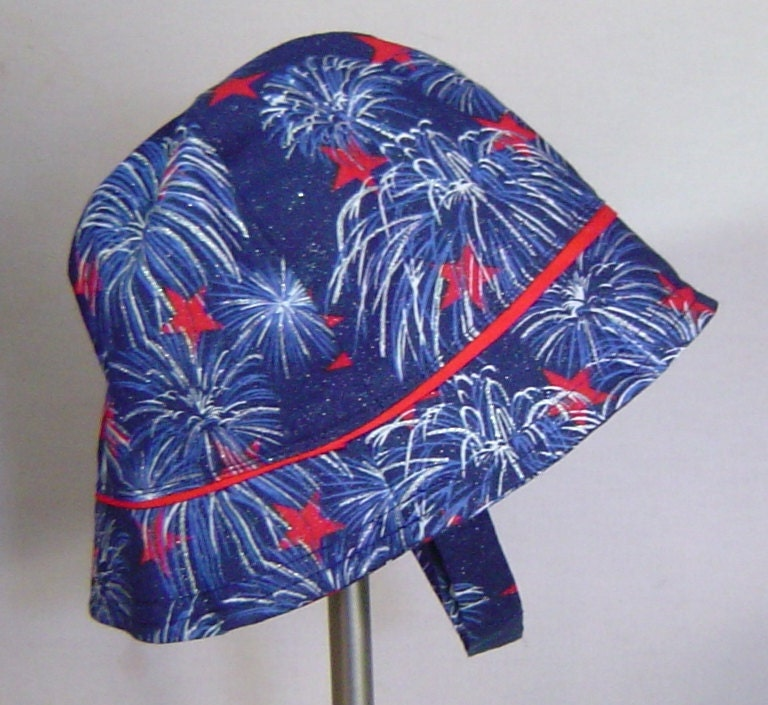 Childs sun hat fireworks and stars on blue July 4th - AccessoriesByKelli