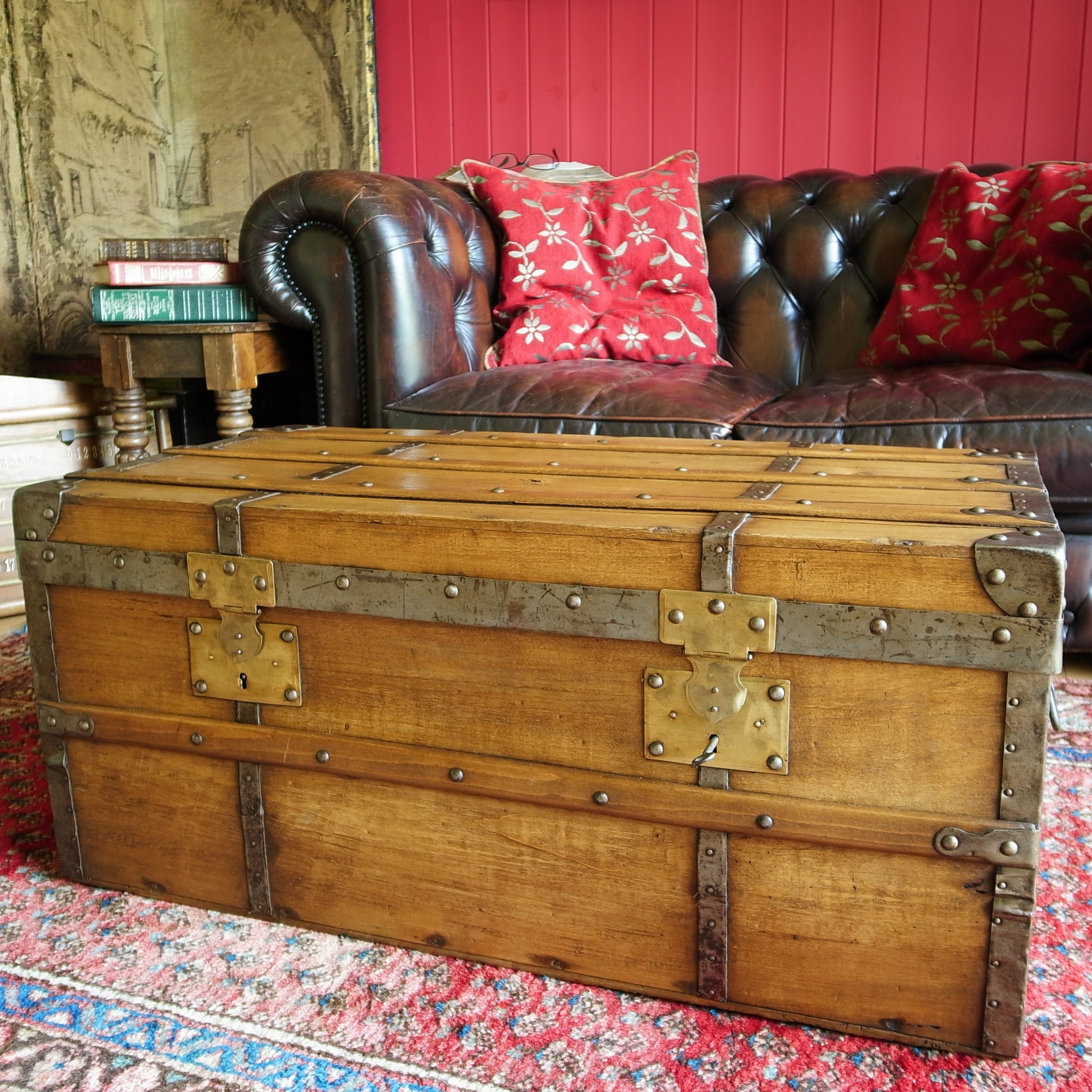 RECLAIMED ANTIQUE TRUNK Coffee Table Victorian Steamer Trunk Rustic Storage Chest Vintage French Country Farmhouse Decor
