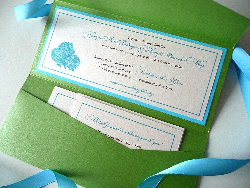 Hydrangea Silhouette Tea Length Wedding By PrettyStationeryShop