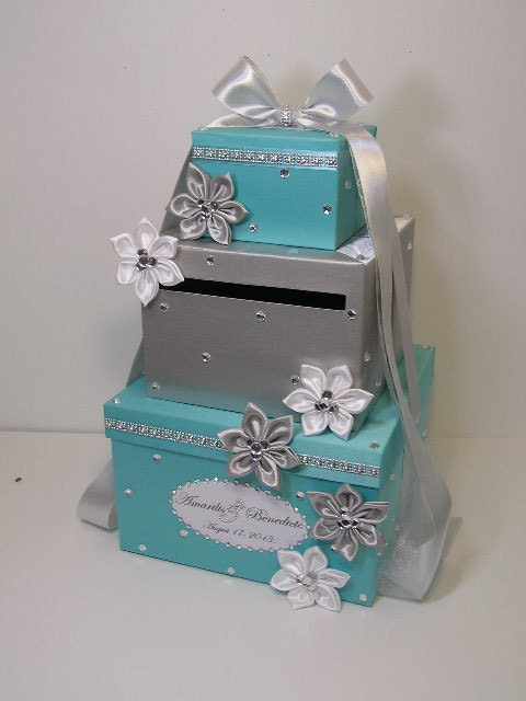 Silver Wedding Gift Card Holder : Tiffany and Silver Wedding Card Box Gift Card Box Money Box Holder ...