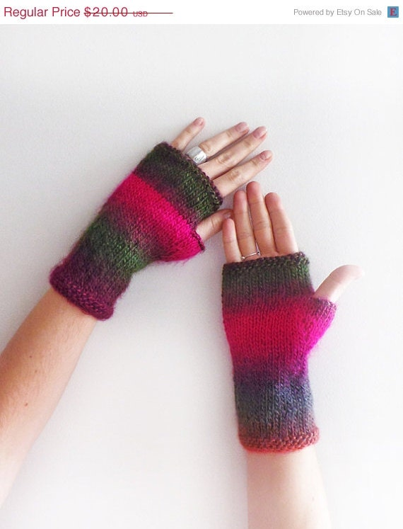 Christmas Sale 20 % OFF Ombre Arm Warmers, Knit Fingerless Gloves, women accessories with bow - SabaKnits